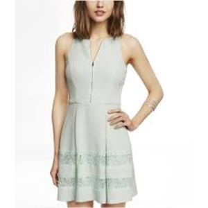 Express Zip Front Lace Inset Fit and Flare Dress